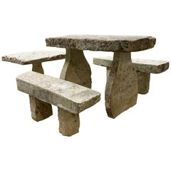 18th Century Limestone Table and Benches from Bourgogne