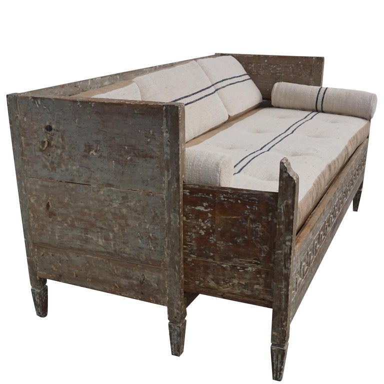 Fabric 18th Century Lit Du Jour, Swedish Gustavian Pinewood Day Bed, Antique Wood Sofa For Sale