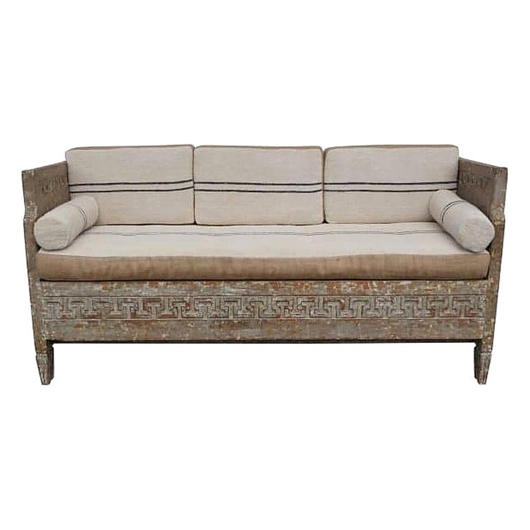 18th Century Lit Du Jour, Swedish Gustavian Pinewood Day Bed, Antique Wood Sofa For Sale
