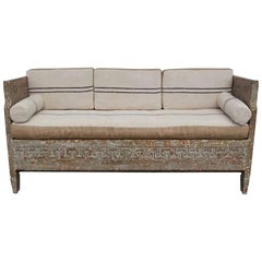 18th Century Lit Du Jour, Swedish Gustavian Pinewood Day Bed, Antique Wood Sofa