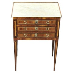 18th Century Little Chest Louis XVI Period Rosewood Marquetry and White Marble