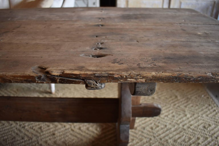 18th Century Long Swedish Farmhouse Trestle Dining Table In Good Condition For Sale In Encinitas, CA