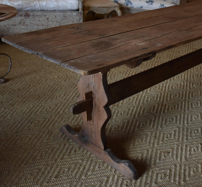 19th Century 18th Century Long Swedish Farmhouse Trestle Dining Table For Sale