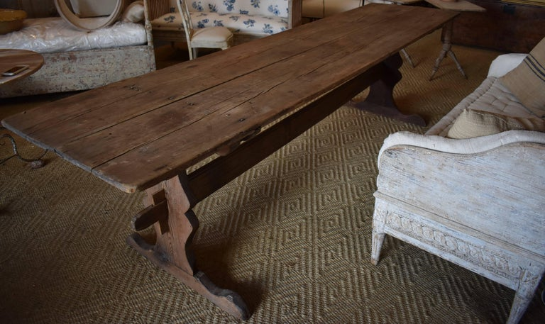 18th Century Long Swedish Farmhouse Trestle Dining Table For Sale 3