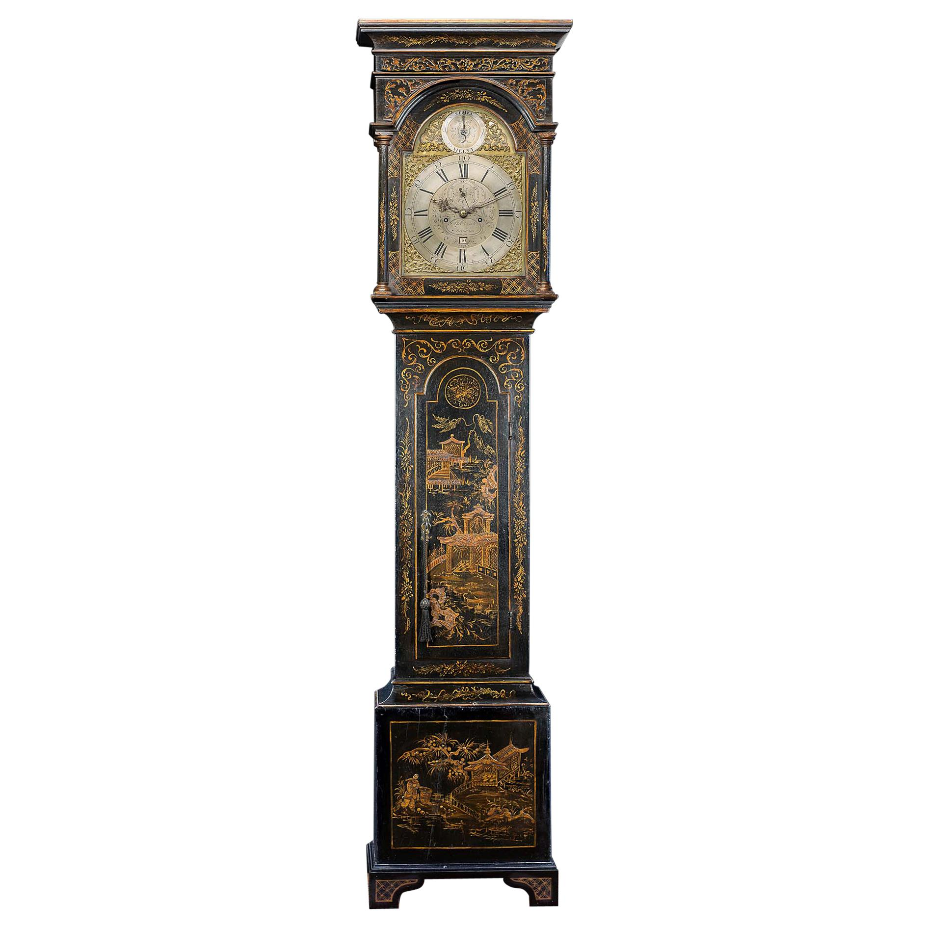 18th Century Longcase Clock with Chinoiserie Lacquer