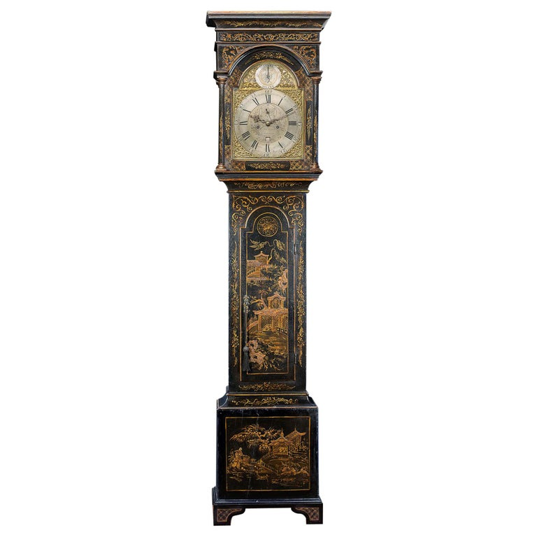 18th Century Longcase Clock with Chinoiserie Lacquer For Sale