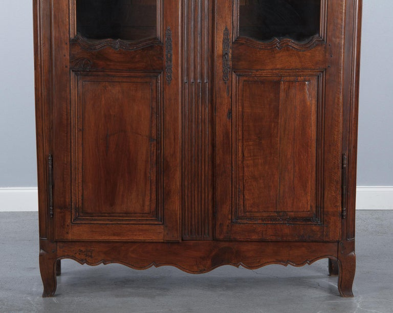 Glass 18th Century Louis XIV French Walnut Armoire or Vitrine For Sale