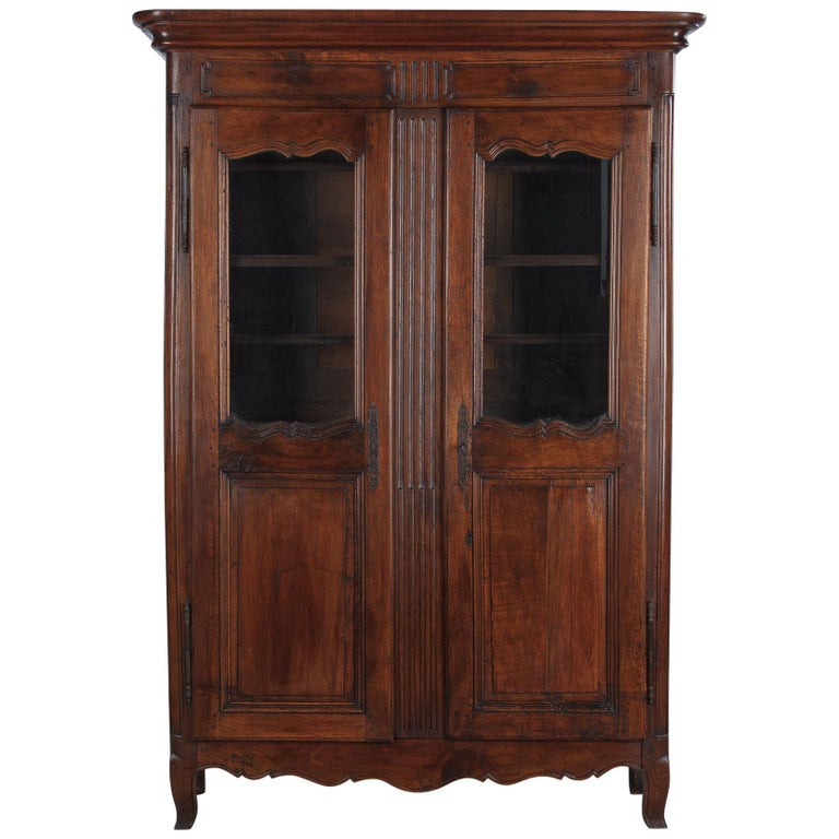 18th Century Louis XIV French Walnut Armoire or Vitrine For Sale