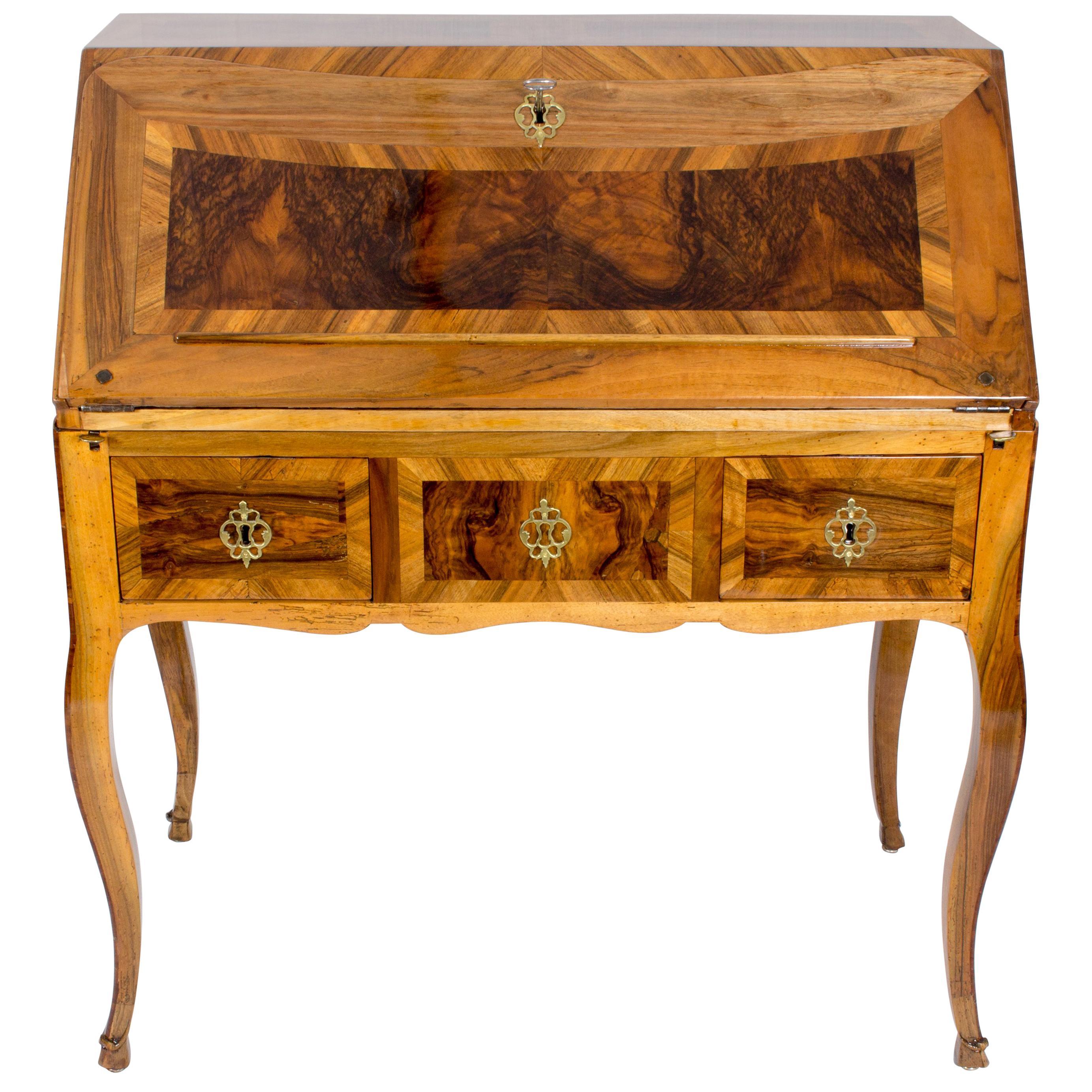 18th Century Louis XV Baroque Walnut Fall Front Desk/Secretaire