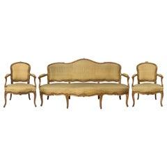 18th Century Louis XV Canapé / Sofa Set with Matching Armchairs, Original Silk