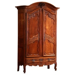 18th Century Louis XV Carved Cherry Two-Door Armoire from Southwest France