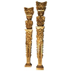 18th Century Louis XV Columns of Sculpted Giltwood a True Pair, French Rococo