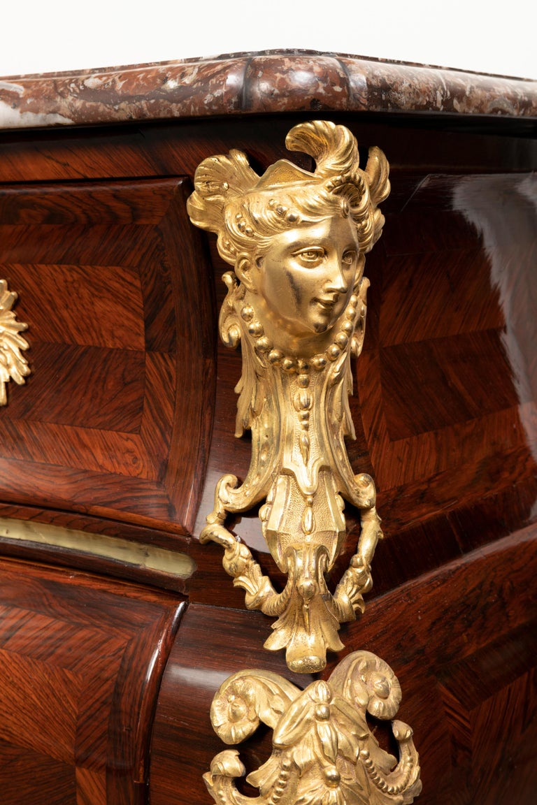Marquetry 18th Century, Louis XV Commode, Traces of a Stamp by M. Criaerd For Sale