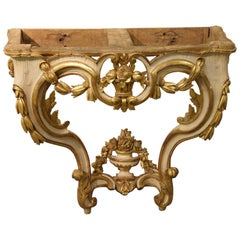 18th Century Louis XV console Hand-Sculpted Gilt Ivory lacquere, Mid 1700s