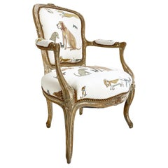 18th Century Louis XV Fauteuil in Chelsea Textiles 'Dogs Socialising'