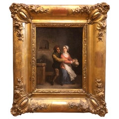 18th Century Louis XV Flemish Painting Gilt Frame Signed, 1750s