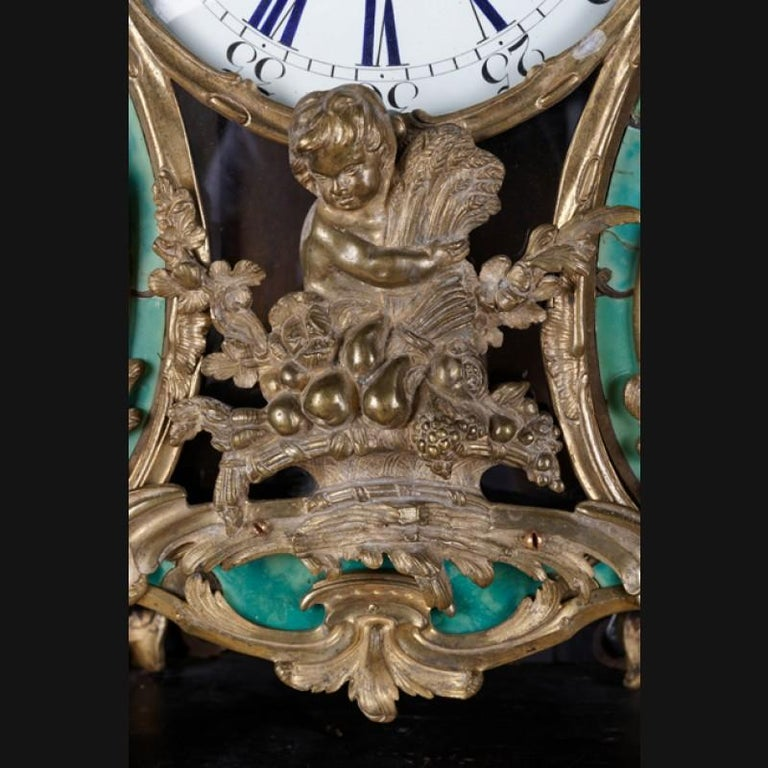 18th Century Louis XV French Bronze-Gilt Clock on Console For Sale 1