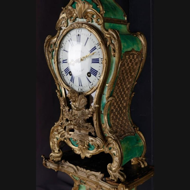 18th Century Louis XV French Bronze-Gilt Clock on Console For Sale 2