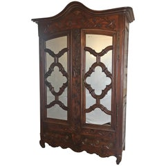 Rare 18th Century Louis XV French Carved Walnut Armoire or Wardrobe