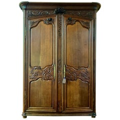 18th Century Louis XV French Provincial Carved Armoire or Wardrobe France, 1700s