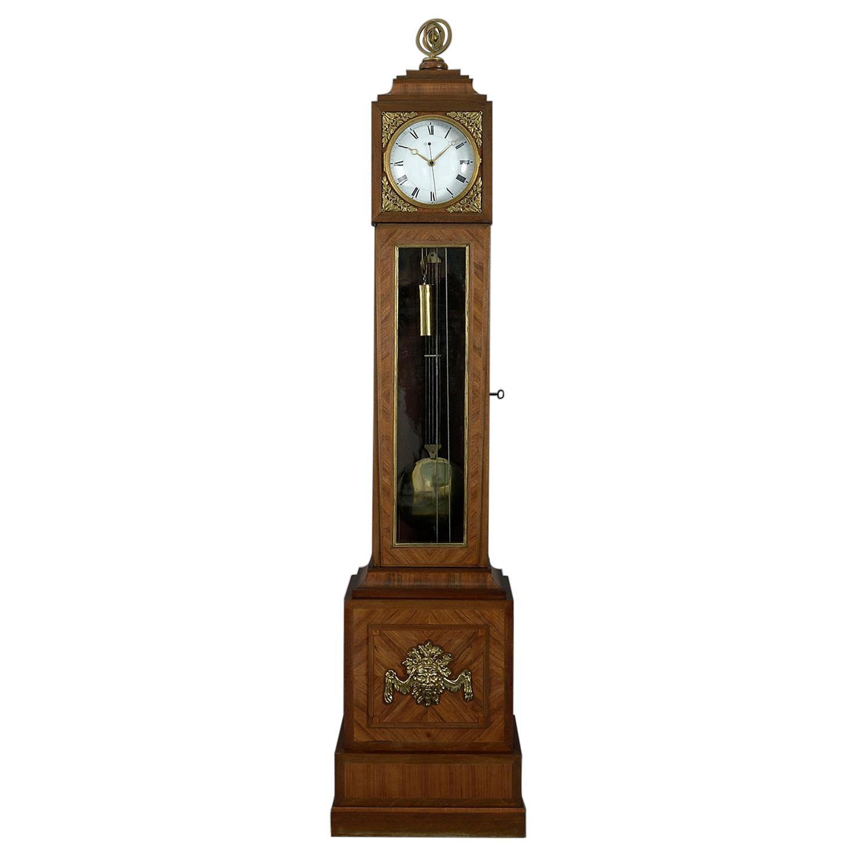 18th Century Louis XV Gilt-Bronze Mounted Tulipwood Regulator Longcase Clock