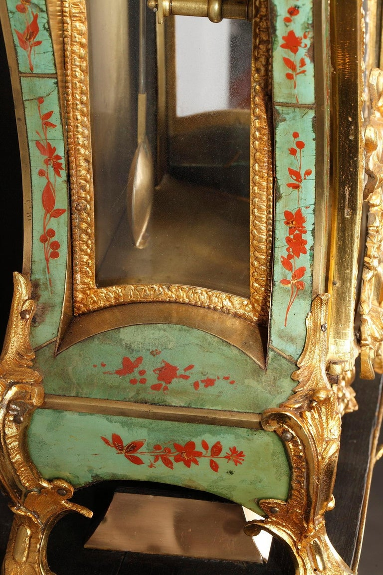 18th Century Louis XV Green Horn Cartel Clock For Sale 8