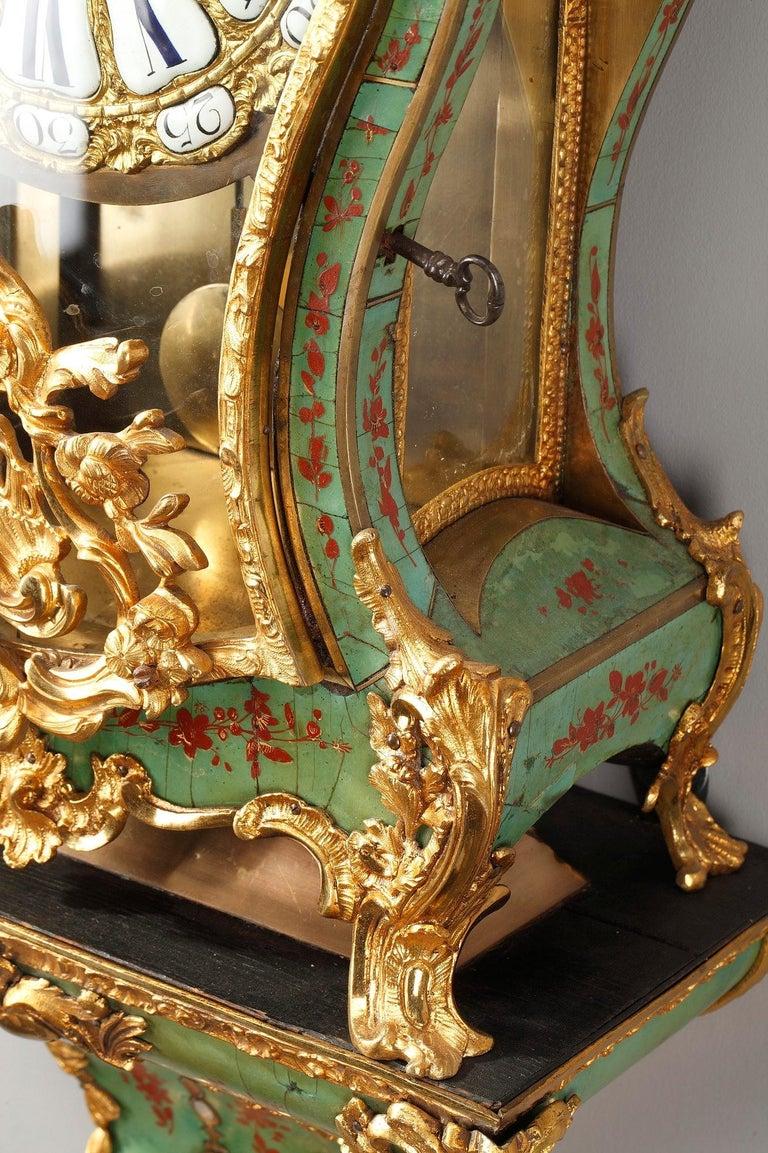18th Century Louis XV Green Horn Cartel Clock For Sale 10