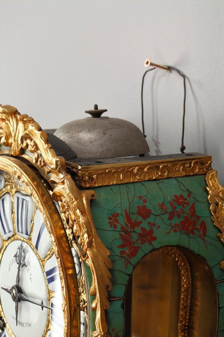 18th Century Louis XV Green Horn Cartel Clock For Sale 12