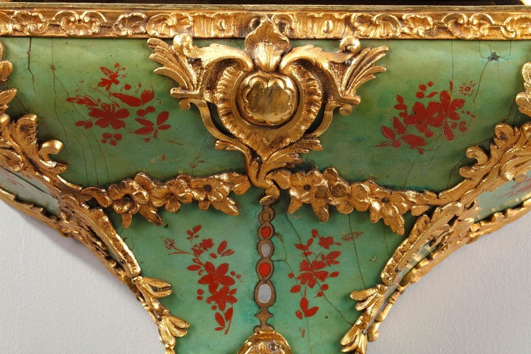 French 18th Century Louis XV Green Horn Cartel Clock For Sale