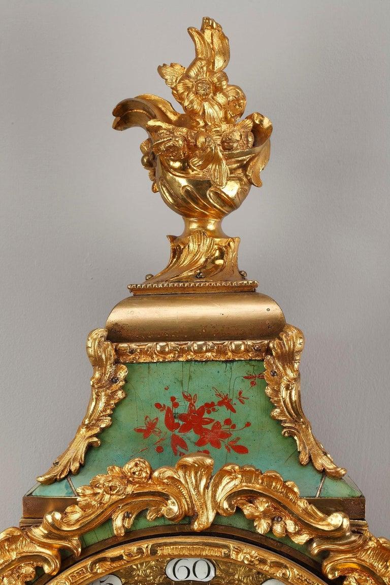 Gilt 18th Century Louis XV Green Horn Cartel Clock For Sale
