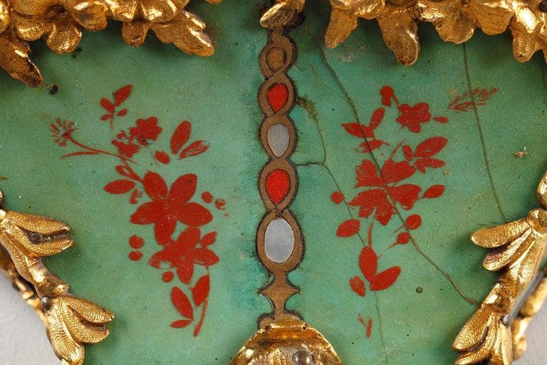 18th Century Louis XV Green Horn Cartel Clock For Sale 1