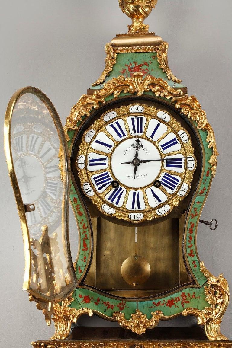 18th Century Louis XV Green Horn Cartel Clock For Sale 2