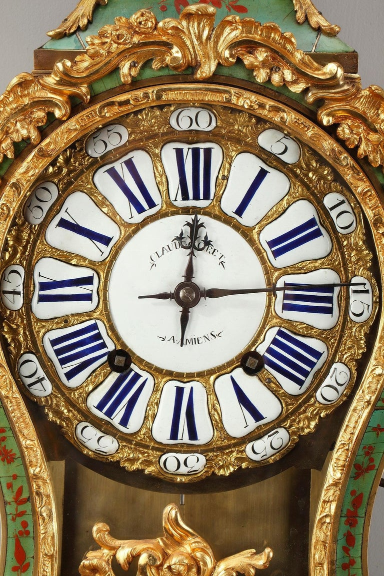 18th Century Louis XV Green Horn Cartel Clock For Sale 3