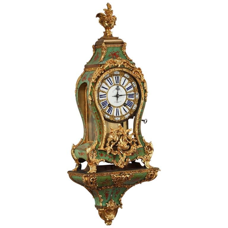 18th Century Louis XV Green Horn Cartel Clock For Sale