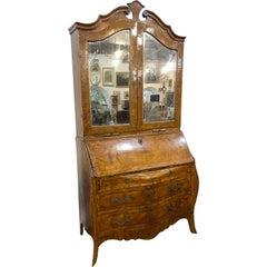 18th Century Louis XV Italian Walnut Cabinet Secretaire Bookcase 1750
