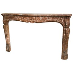 18th Century Louis XV Mantel with Hand Carved Rouge Royale Brown Marble