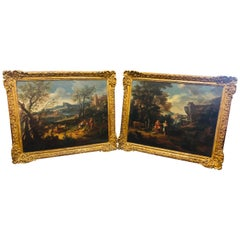18th Century Louis XV Pair of Paintings Michele Pagano Landscape, 1720s