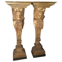 18th Century Louis XV Pair of Pilasters in Gilded Wood Carved Caryatids