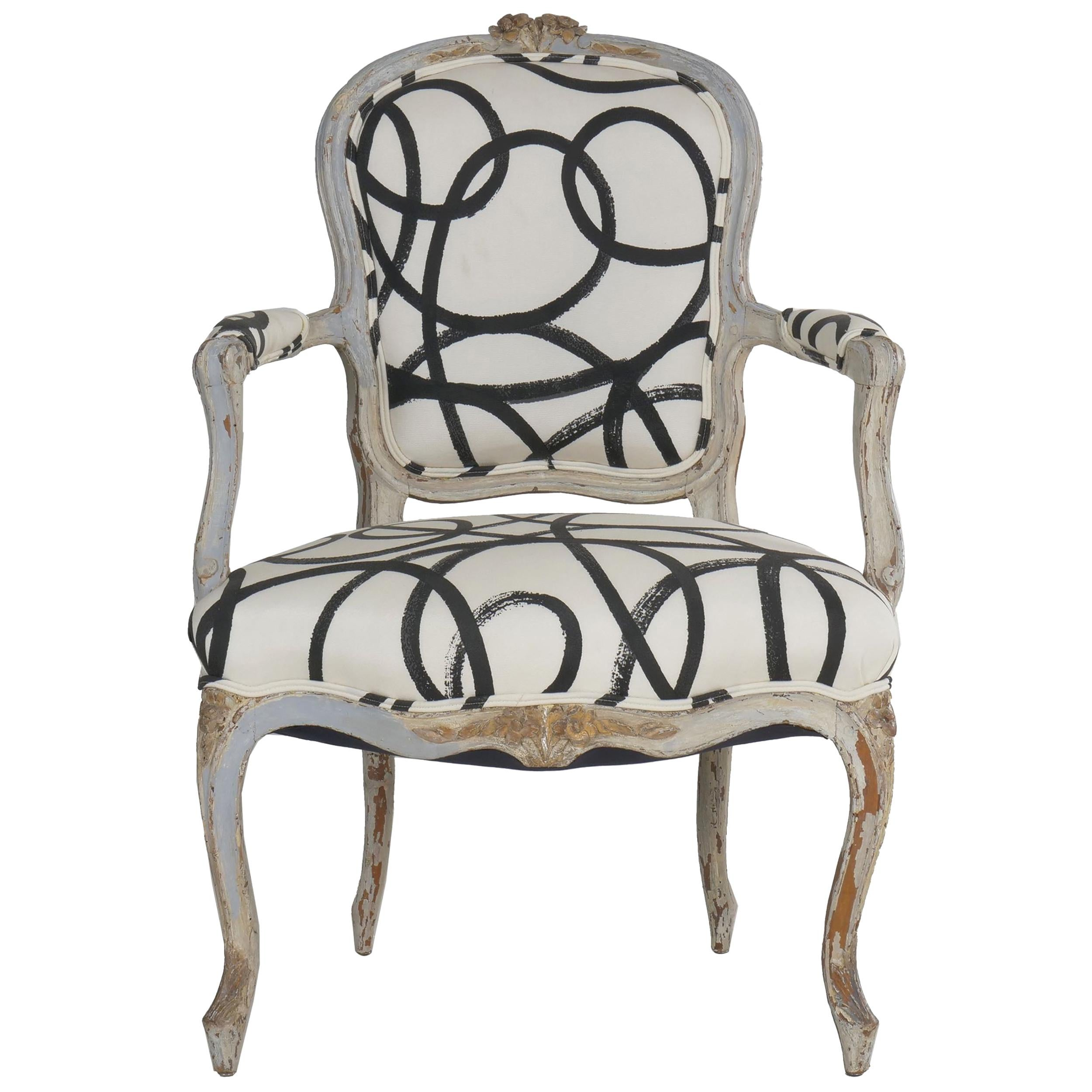 18th Century Louis XV Period French Antique Armchair with Modern Upholstery