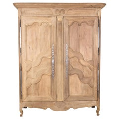 18th Century Louis XV Period French Provincial Bleached Armoire
