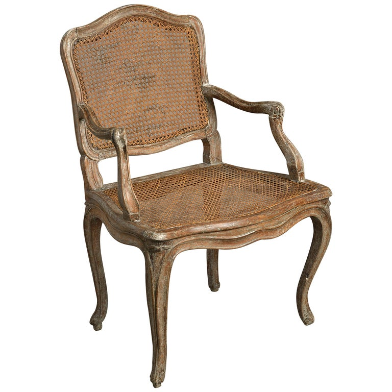 18th Century Louis XV Period Painted Fauteuil Armchair For Sale