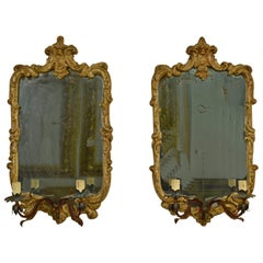 18th Century Louis XV Piedmont Carved Wood with Metal Arms Pair of Mirrors
