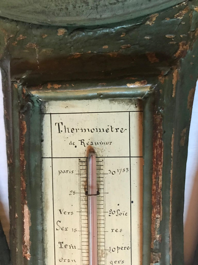 Hand-Carved 18th Century Louis XV Polychrome Painted Barometer and Reaumur Thermometer For Sale
