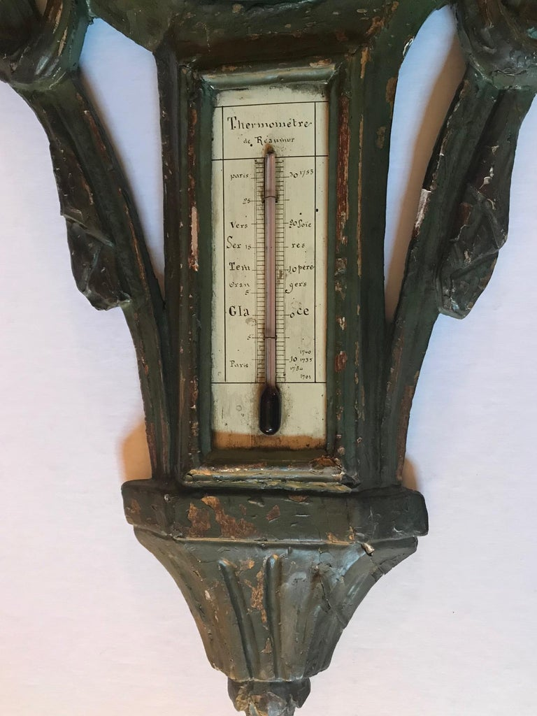18th Century Louis XV Polychrome Painted Barometer and Reaumur Thermometer In Fair Condition For Sale In Poughkeepsie, NY