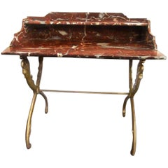 18th-century, Louis XV Rance Red Carved Marble & Gilded Iron Swan-legged Table