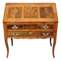 18th Century Louis XV Slant Front Desk in Veneer Wood with Floral Decor