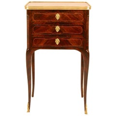 18th Century Louis XV Transition Marquetry Marble-Top Side Table or Écritoire