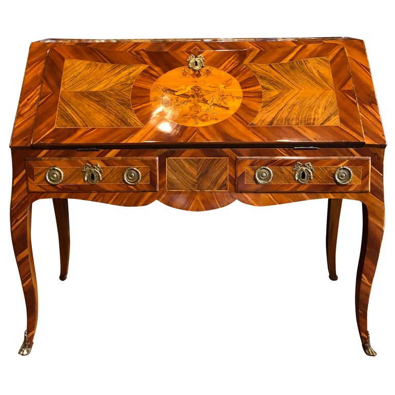 18th Century Louis XV Walnut and Olive Italian Bureau Secretaire, Naples 1760s For Sale