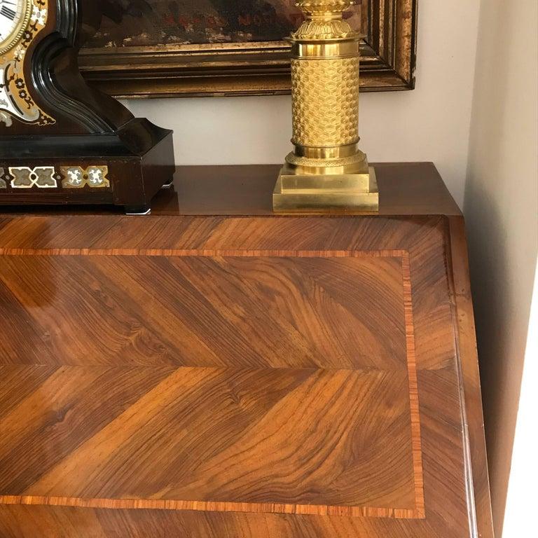 18th Century Louis XV Walnut Bureau Italian Genoese Drop-Front Desk For Sale 9