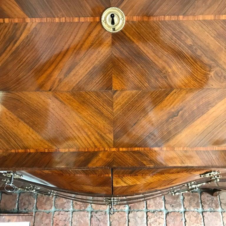 18th Century Louis XV Walnut Bureau Italian Genoese Drop-Front Desk For Sale 11
